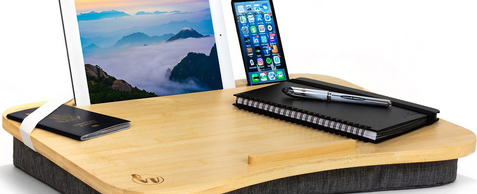 Modern Home Office Lap Desk -Premium Thick Natural Bamboo