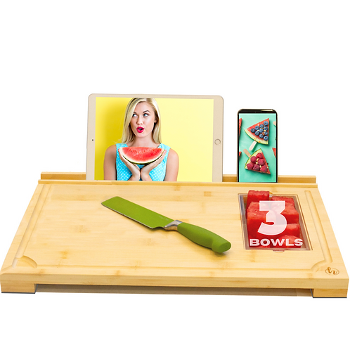 Modern Bamboo Cutting Board with 3 Food Prep Containers