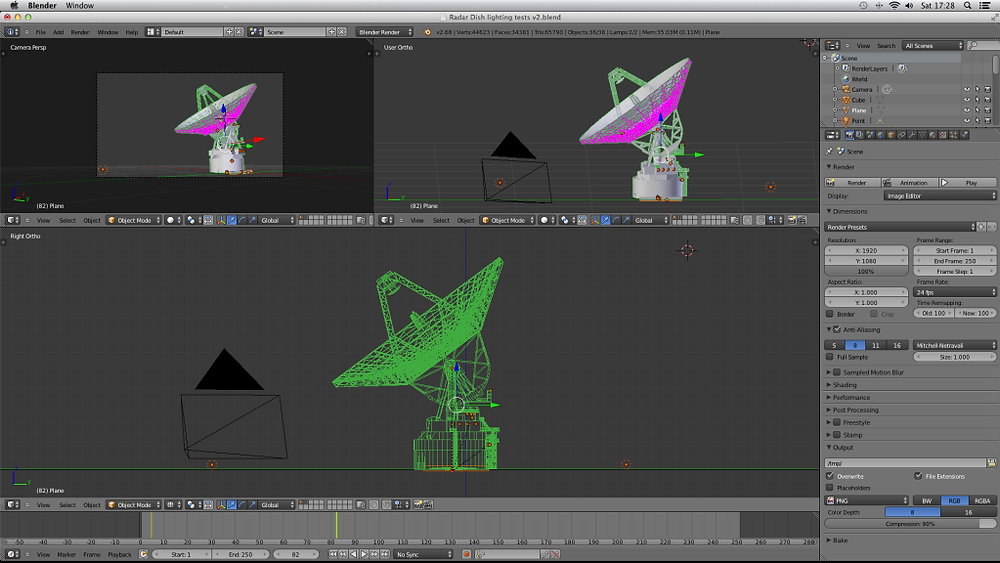 Screenshot from Blender of Sat Dish Tests.