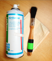 1-inch brush + 'Dust-off' + Camera cloth