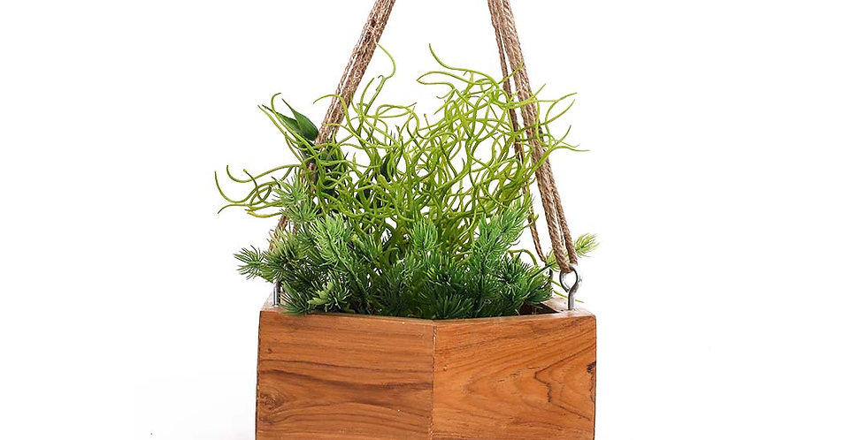 Wooden Hex Planter