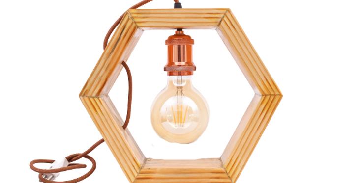 Wooden Hex Lamp