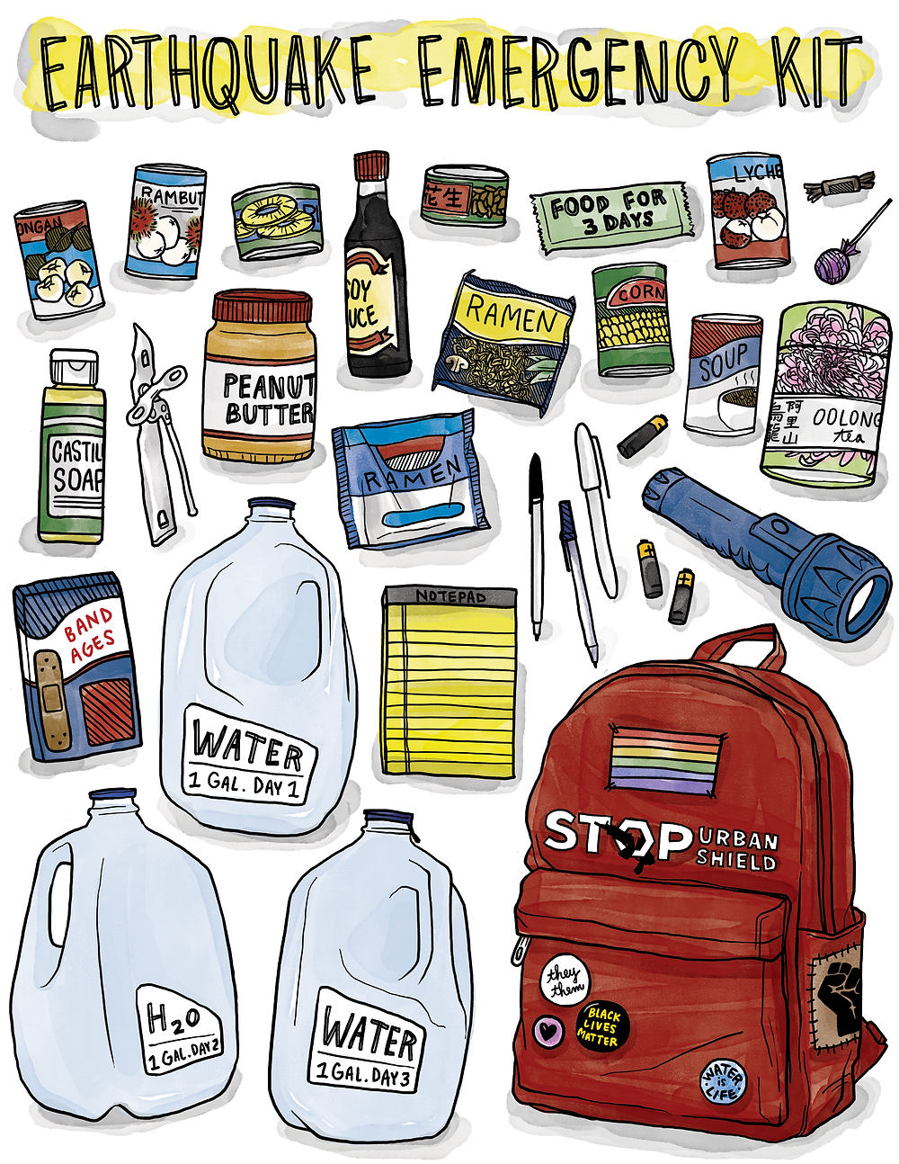 Illustrated earthquake emergency prep kit, ink line and watercolor, shows canned fruit and nuts, soy sauce, ramen packet, peanut butter, pens, paper, flashlight, can opener, band-aids, a red backpack with a rainbow patch and political buttons, and three 1-gallon jugs of water.