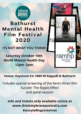Saturday October 10th World mental health Day 12pm -5pm Includes special screening of the