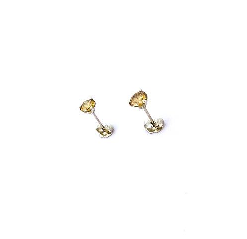 Brown Diamond Gold Stud Earrings
