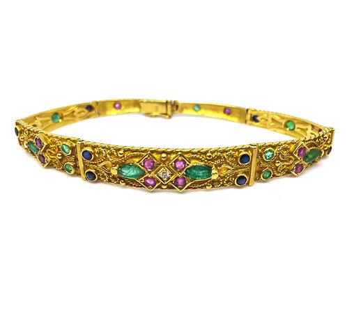 Gold Bracelet Multi Gemstones