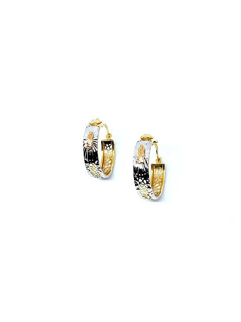 Tri-gold Diamond Hoop Earrings