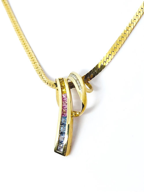 Diamonds Gemstones Gold Pendant