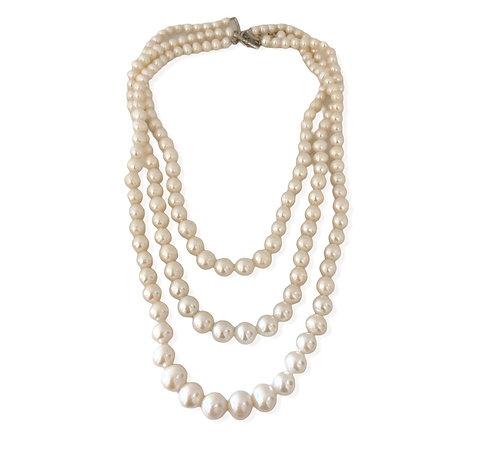 Triple Strand White Pearl Necklace