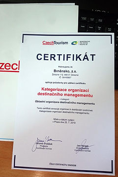 Destinace Brněnsko - certifikát CzT