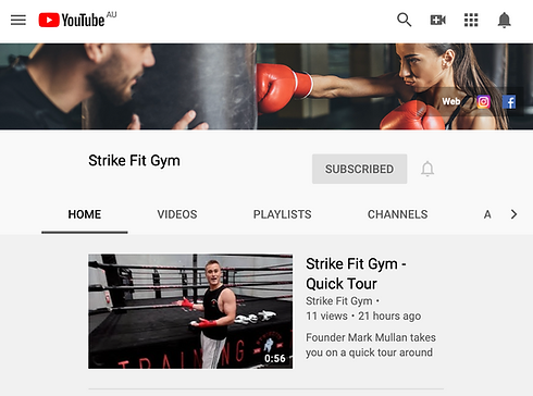 Strike Fit Gym's Youtube Channel launched