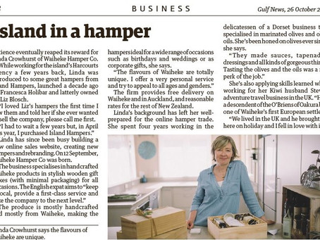 Check out this Waiheke Gulf News article and find out how Waiheke Hamper Co was created!