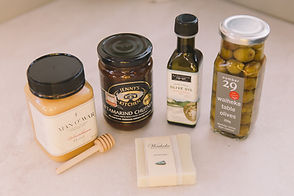 Man O War Honey, Rangihoua Olive oil, number 29 olives, Waiheke Soap company soap bar, Jenny Kitchen Tamarind Chutney