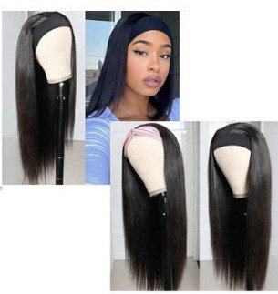 Virgin hair, Head Band wig 20""