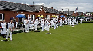 A competitive bowls match at Kibworth Bowling Club