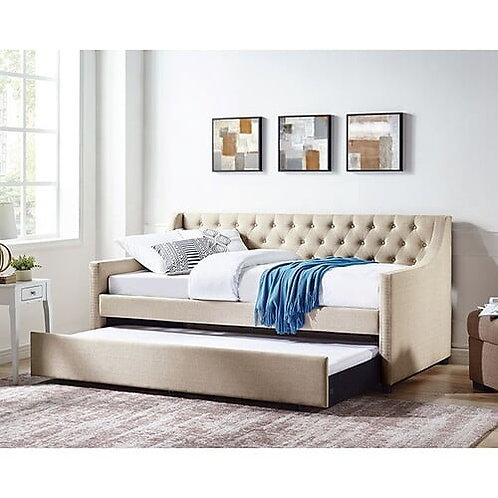 EMMY Imprad Biege Fabric Daybed w/Trundle