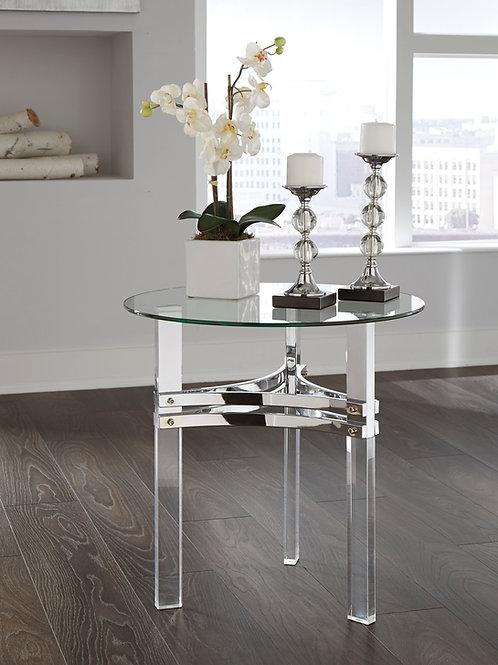 Braddoni Angel Chrome Finish Glass Round End Table