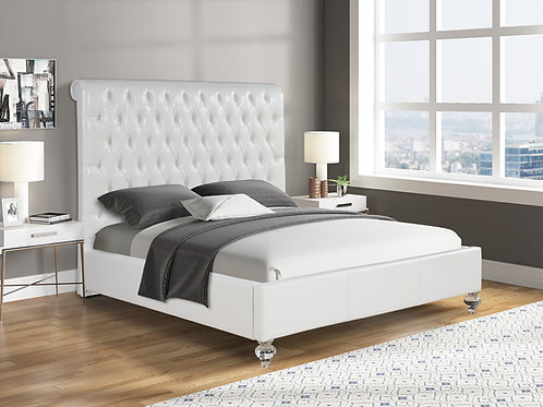 Best B98 Tufted White Faux Leather Bed w/Acrylic Legs