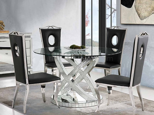 Ornat All Glam Clear Glass,Mirrored & Faux Diamonds Round Dining Table