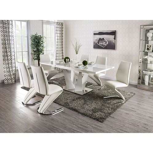 Zain Imprad Contemporary Glossy White Table