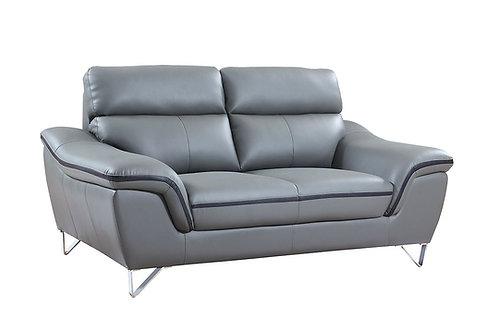 168 Geo Modern Leather Gray Loveseat