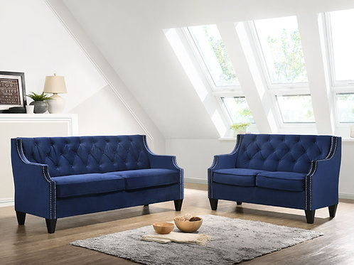 Best S475 Navy Blue Velvet Sofa