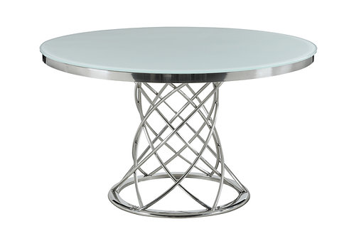 Irene Cali Round Glass Top Dining Table White And Chrome