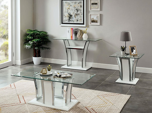 STATEN Imprad Glass/High Gloss Base w/Chrome Trim Coffee Table