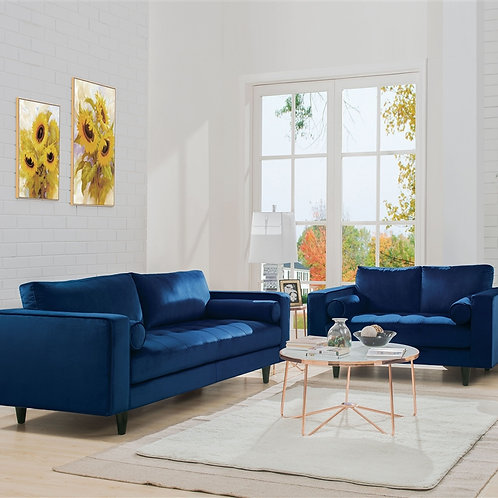 Heather All Sofa w/2 Pillows Navy Velvet