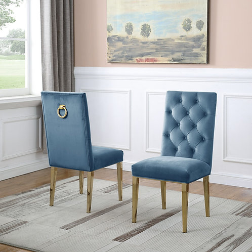 Best Q SC77 Velvet Teal/Gold Chair