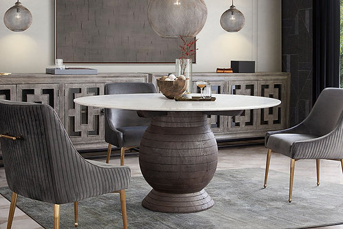 Dream Ashe Marble / Espresso Base Dining Table