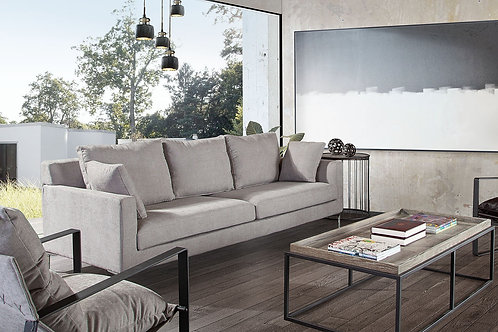 Dream Seattle Contemporary Grey Linen Sofa