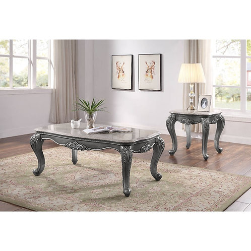 All Ariadne Traditional Marble and Platinum Coffee Table