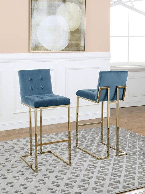 Best BS47 Tufted Blue Teal Velvet Barstool w/Gold Legs