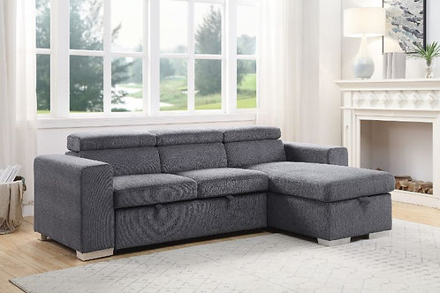 All NATALIE Gray Chenille Fabric Reversible Storage Sleeper Sectional Sofa