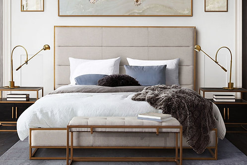 Empire Dream  Bed in Sand Fabric and Brushed Gold Frame