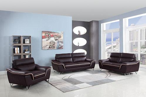 168 Geo Modern Leather Brown Sofa