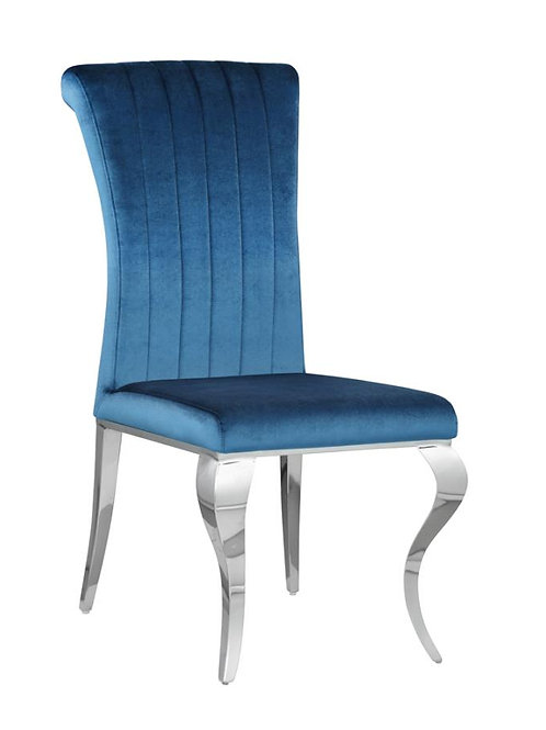 Carone Cali Upholstered Side Chair Teal And Chrome