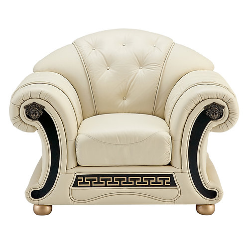 Apolo Ivory Classic Shiny Crocodile Embossed Leather Chair