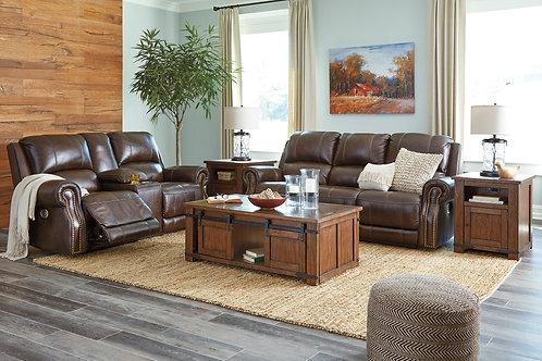 Angel Buncrana Chocolate Genuine Leather PWR Motion Sofa with Nail Heads
