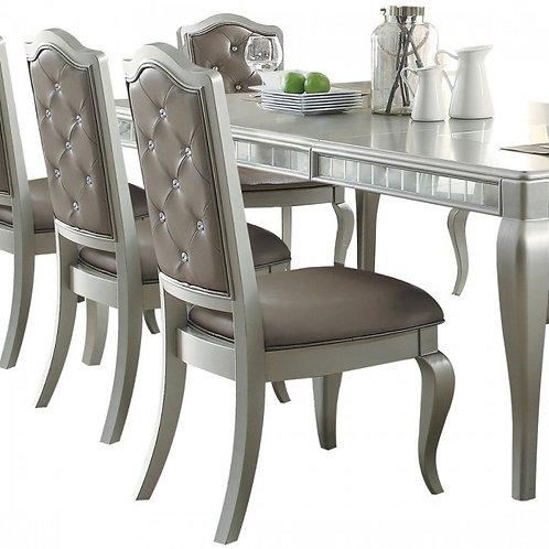 Francesca All Silver PU/ Champagne Finish Side Chair