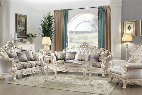 All Northville Sofa w/5 Pillows Velvet & Antique Silver