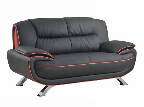 405 Geo Modern Black/Red Leather Loveseat