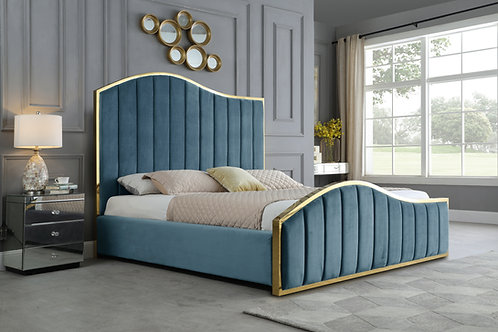 Best B62 Teal Blue Velvet Fabric Platform Bed with Gold Accents