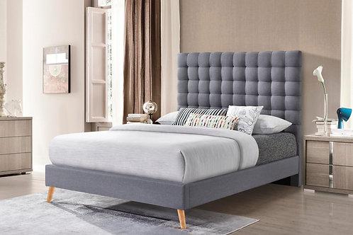 7676 Milt Light Gray Linen Tufted Platform Bed