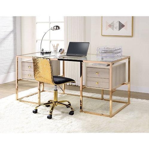 All Huyana Modern Clear Glass and Gold Desk