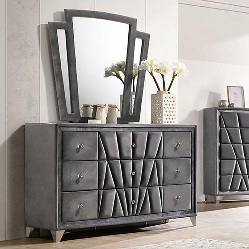 CARISSA Imprad Transitional Gray Velvet Dresser
