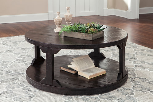 Angel Rogness Rustic Brown Round Cocktail Table