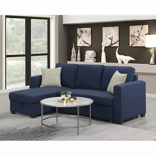 Emeral Langley Navy Sleeper Sofa Chaise w/Storage