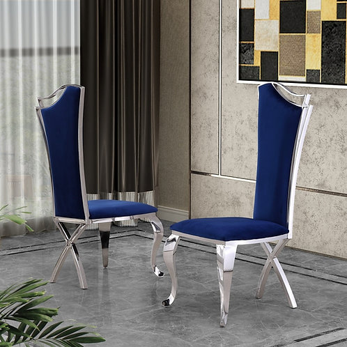 Best SC35 Navy Blue Velvet Side Chair